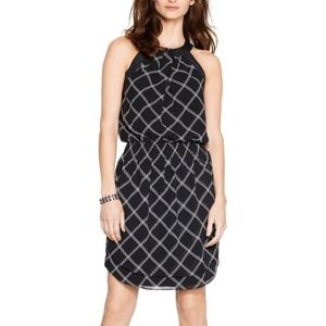 WHBM Black Smocked Waist Windowpane Dress